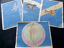 Bayer, Johann C1640 Group of 4 Celestial Maps from Uranometria