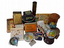 Cartographic Curiosities 20th Centruy, Mixed Lot of 25. Tins, Globes, Games, Soap, Candle, Tobacciana