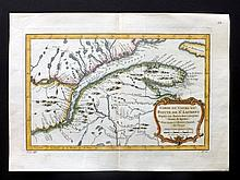 Bellin, Jacques C1750 Hand Coloured Map of the St. Lawrence River, Quebec, Canada