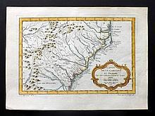Bellin, Jacques C1750 Hand Coloured Map of South Carolina & Georgia