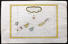 Bellin, Jacques C1750 Hand Coloured Map of Canary Islands, Spain. Tenerife, Fuerteventura, Gran Canaria, Lanzarote