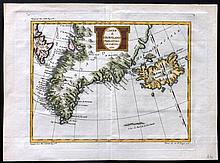 Bellin, Jacques & Laurent, J. C1770 Hand Coloured Map of Greenland