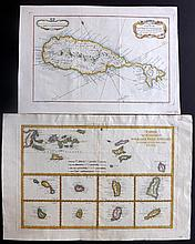 Bonne, Rigobert & Bellin, Jacques C1750-88 Pair of Hand Coloured Maps of St. Kitts & Virgin Islands. West Indies Caribbean