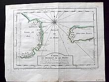 Bellin, Jacques C1750 Map of Le Maire Straight, Tierra del Fuego. Argentina