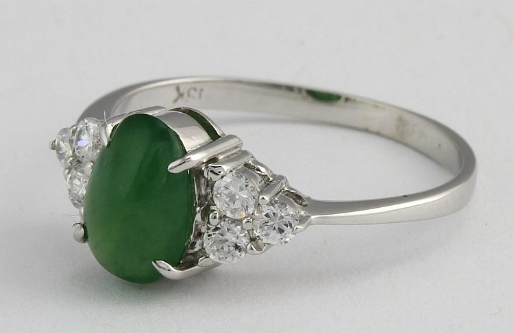 White Gold Ring with Jadeite and Diamonds