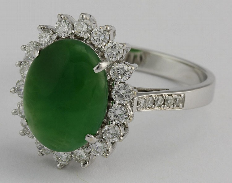 Chinese Jadeite and Diamond 18k Gold Ring