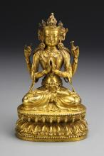 Chinese Ming Period Gilt-Copper Buddha