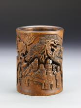Chinese Carved Box Wood Brush Pot