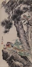 Chinese Scroll Painting of a Bird and Flowers