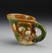 Chinese Sancai Glazed Mug with Handle