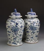 Pair of Chinese Blue and White Covered Jars