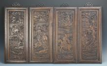 Four Chinese Carved Panels