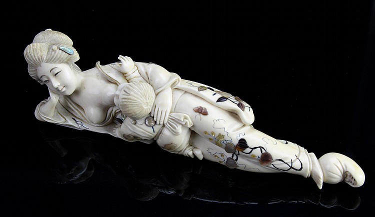 Japanese Ivory Woman and Child Figure