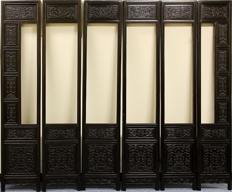 Six Chinese Zitan Screen Panels