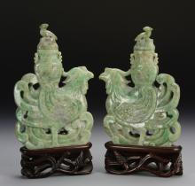 Pair of Chinese Jadeite Phoenixes