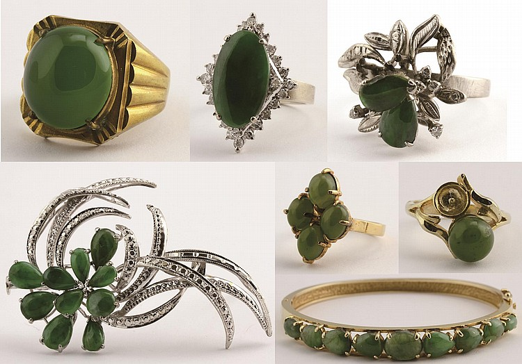 Chinese Jadeite Jewelry and 14k Gold Bangle