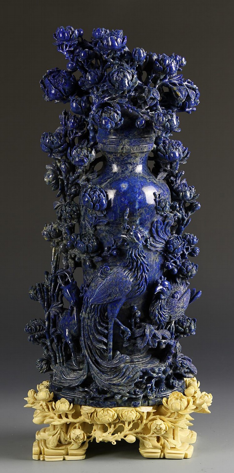 Chinese Lapis Vase with Ivory Base