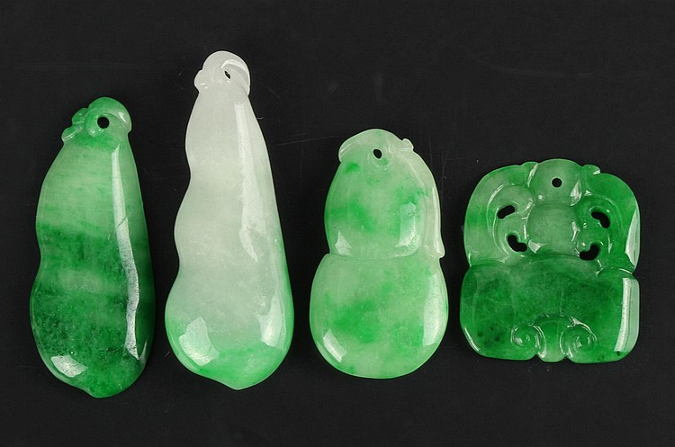 Four Chinese Jadeite Pendants