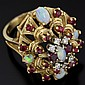 14K Yellow Gold, Opal, Ruby, and Diamond Ring