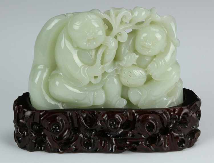 Chinese Carved Jade Boulder