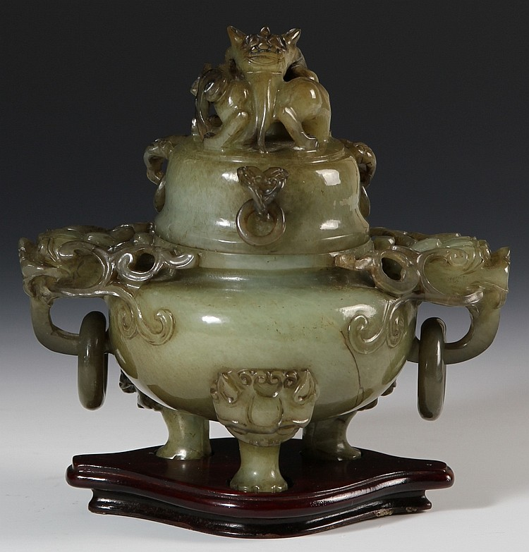 Chinese Carved Jade Tripod Censer