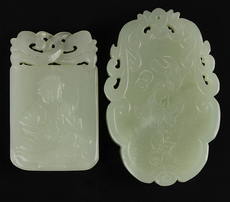 Two Chinese Carved Jade Plaques