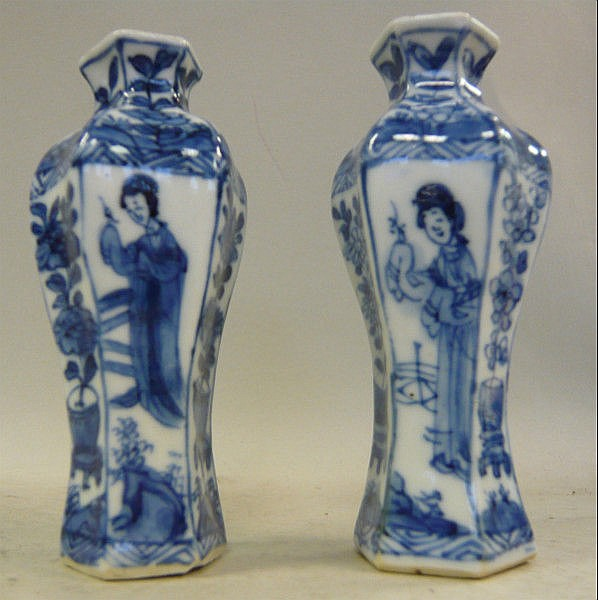 A pair of Chinese Kangxi porcelain miniature vases