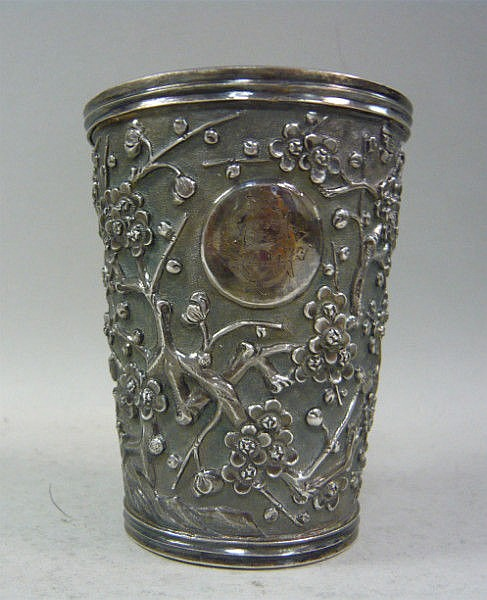 A Chinese silver coloured metal beaker, finely
