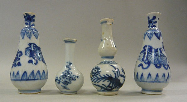 Four Chinese Kangxi porcelain miniature vases,