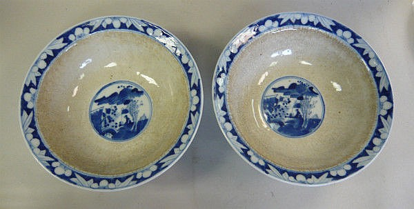 A pair of late 19thC Chinese porcelain bowls,