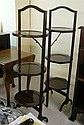 Two similar 1930s three tier folding cakestands,