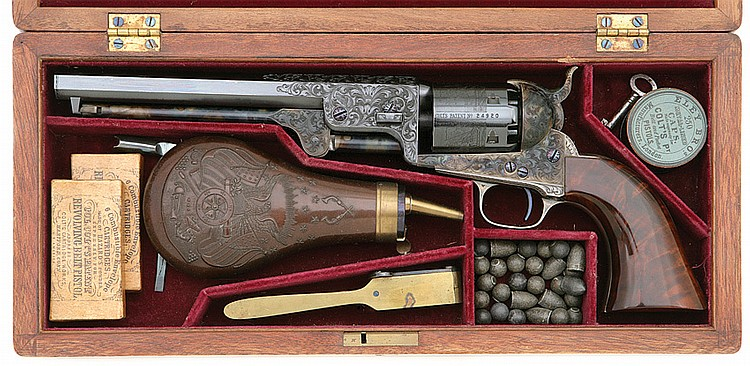 Cased and Engraved Klay Colt 1851 Navy Revolver