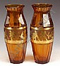Glass: A fine pair of amber tinted vases with cut