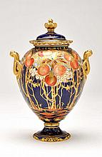 Royal Crown Derby globular shaped vase and cover,