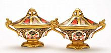 Pair of Royal Crown Derby 'Imari' boat shaped vase