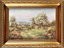 Royal Worcester 'Countryside' plaque, signed J. Sk