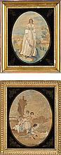 Two Victorian silkwork pictures, one depicting a l