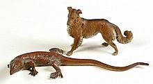 A cold painted bronze lizard, 10in. (26cms.) long;