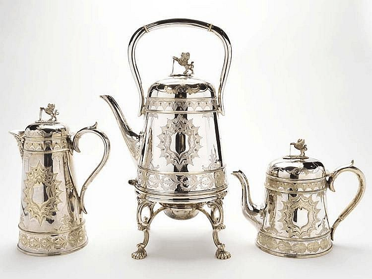 A three-piece EPNS part tea service, by Philip
