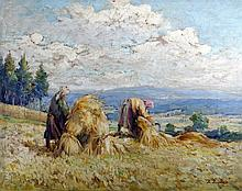 A Summer Landscape with Sheaves, Antonín Augusta