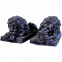 Pair of Life-Size Cast Bronze Lions