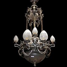 Silver on Bronze Chandelier with Female Masks