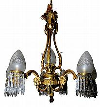 Cast Bronze 6-Arm Chandelier with Goat Head