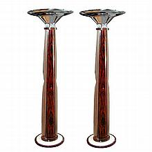 Pair of Rosewood French Art Deco Torcheres