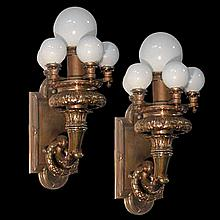 Magnificent Pr of Bronze Beaux Art 6-Light Sconces