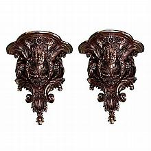 Pair of Bronze Wall Sconces with Female Heads