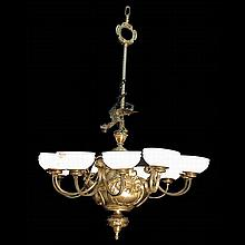 9-Light Bronze with Alabaster Chandelier with Griffin