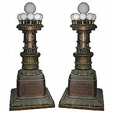 Pair of Chicago Courthouse Bronze Torcheres