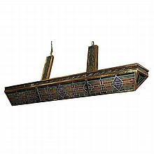 Art Deco V-Shaped Stained Glass Fixture