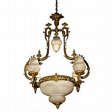 19th C French Bronze Chandelier with Shades